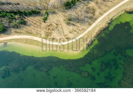 Aerial Photo From Flying Drone Of Bicycle Lane Or Footpath Around The Lake