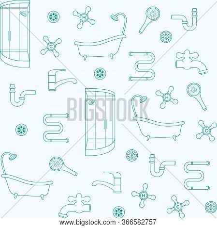 Sanitary Equipment, Plumbing. Vector Seamless Pattern For Plumbing Store, Sanitary Engineering Shop,