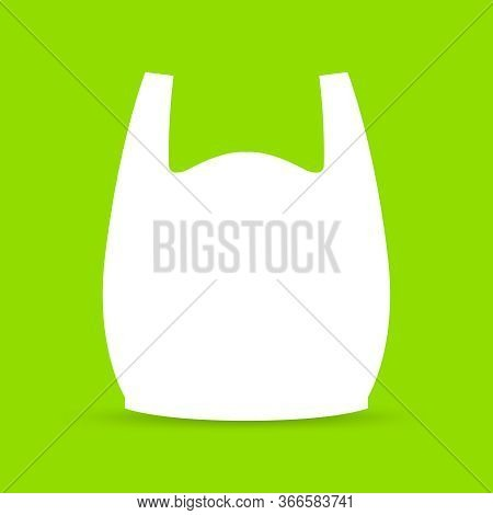 Bag, Plastic Handle Bags White Isolated On Green Background, Bag Plastic Symbol For Pollution Proble