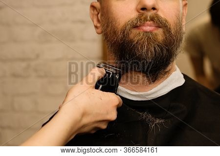 Bearded Man With Unshaven Beard, Brutal Hipster Guy With Moustache, Getting Stylish Beard Shaving Wi