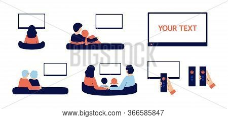 Set Of Modern Isolated Vector Illustrations. People Stay At Home, Watch Tv With Their Parents, Grand