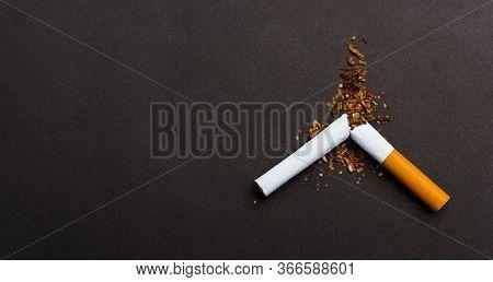 31 May Of World No Tobacco Day, No Smoking, Close Up Of Broken Pile Cigarette Or Tobacco Stop Symbol