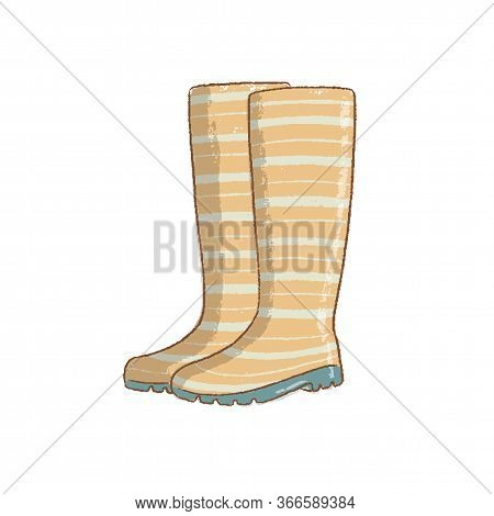 Vector Illustration Of Waterproof Rubber Boot Isolated On White Background. Green Rain Boot In Flat
