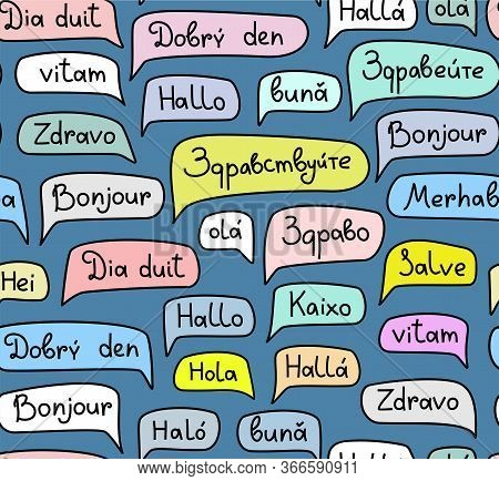 Hello, European Languages, Seamless Pattern, Contour Drawing, Color, Blue, Vector. The Word