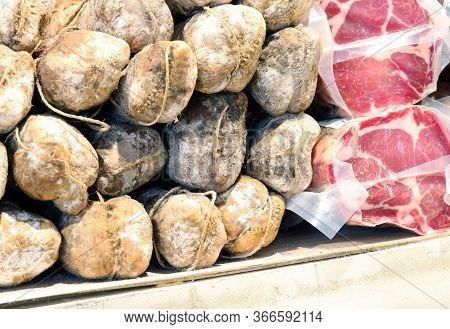 Cured Meats And Cured Meats For Sale In The Market Stall