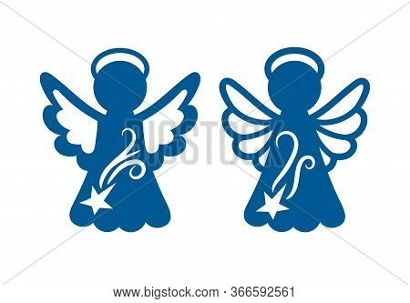 Laser Cutting Template. Christmas Carved Openwork Angel. Graphic Vector For Wedding Invitations, Bab
