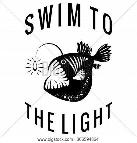 Angler Fish. Lophius Piscatorius. Isolated On White. Underwater World. Black And White Illustration.