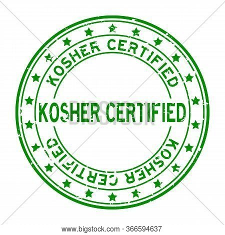 Grunge Green Kosher Certified Word Squre Rubber Seal Stamp On White Background