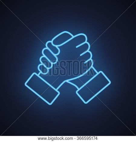 Soul Brother Handshake Thumb Clasp Homie Neon Blue Line Icon