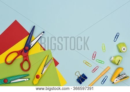 Colourful Preschool Education And Hobbies Flat Lay. Stationary Items For Creativity. Curly Scissors,
