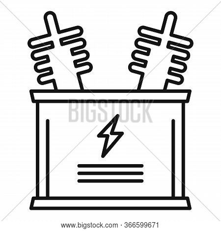 Electric Transformer Icon. Outline Electric Transformer Vector Icon For Web Design Isolated On White