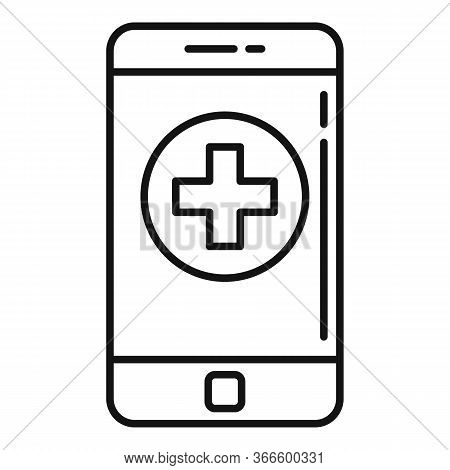 Smartphone Medical Help Icon. Outline Smartphone Medical Help Vector Icon For Web Design Isolated On