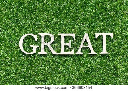 Wood Alphabet Letter In Word Great On Artificial Green Grass Background