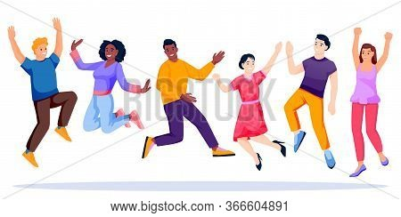 Jumping And Dancing Multiethnic Happy People Team. Vector Characters Illustration. Young Carefree Me