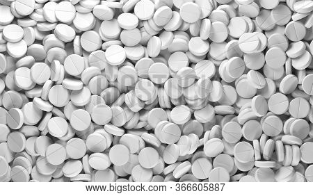 Medicine Pills On White Background. White Pill. The Cure For The Virus. Pill With Vitamins Or Bio Su