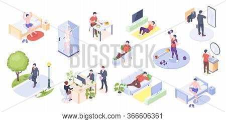 Man Daily Life, Home Routine, Work And Everyday Activity, Vector Isometric Icons. Man Daily Life At