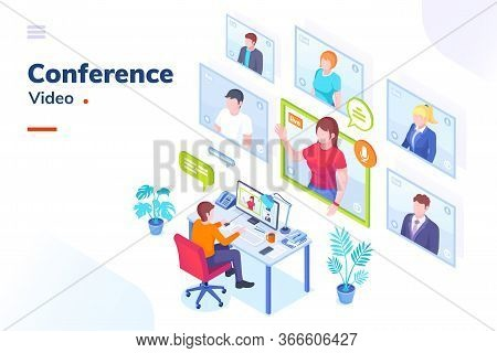 Video Conference Internet Meeting And Live Video Chat Isometric Vector Illustration. Business Video