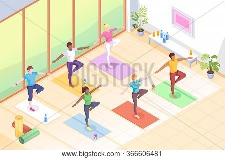 Yoga Class, People In Poses On Yoga Mats, Fitness Exercise Vector Isometric Illustration. Women In Y