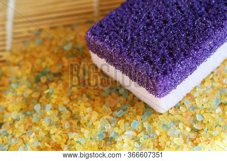Purple Pumice And Sea Salt For The Bath Top View