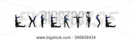 Group Of Smiling Office People Forming Expertise Word Isolated Over White Background, Studio Wall, P