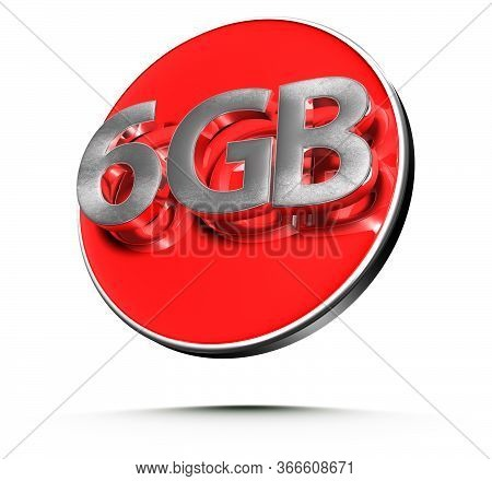 3d Illustration 6 Gigabytes Red Circles Isolated On A White Background.(with Clipping Path).