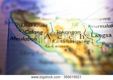 Shallow Depth Of Field Focus On Geographical Map Location Of Aceh City In Sumatra Island Indonesia A
