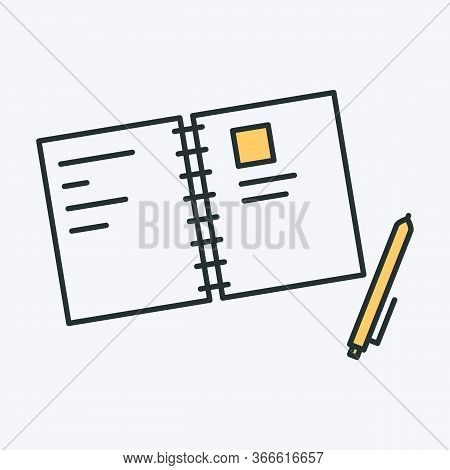 Notebook And Pen Line Icon. Vector Illustration Of An Opened Paper Notebook With Writings. Also Can