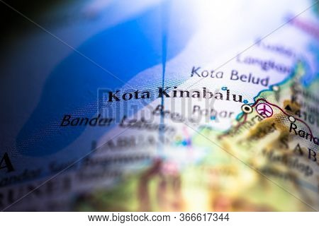 Shallow Depth Of Field Focus On Geographical Map Location Of Kota Kinabalu City In Sabah Borneo Mala