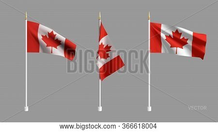 Set Vector Realistic Canada Flag. 3d Waving Flag Textile. Template For Products, Advertizing, Banner