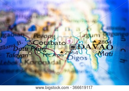 Shallow Depth Of Field Focus On Geographical Map Location Of Davao City In Mindanao Philippines Asia