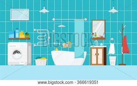 Modern Bathroom With Bath And Washing Machine Interior Scene. House Room With Bathroom Furniture, Mi