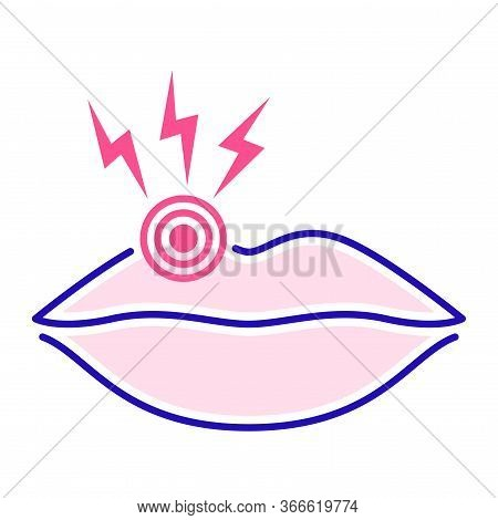 Acute Pain Lips Color Line Icon. Infectious Disease Herpes. Isolated Vector Element. Outline Pictogr