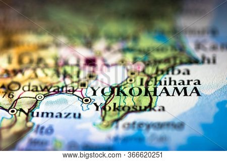 Shallow Depth Of Field Focus On Geographical Map Location Of Yokohama City In Honshu Island Japan As