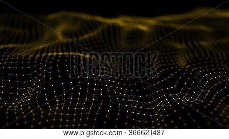 Dynamic Particles Wave. Yelow Dots On Black Background. Digital Landscape. 3d Rendering. Big Data Vi