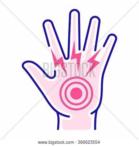 Acute Hand Pain Color Line Icon. Sprain, Injury. Isolated Vector Element. Outline Pictogram For Web