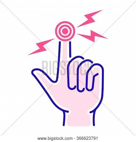 Acute Finger Pain Color Line Icon. Sprain, Injury. Isolated Vector Element. Outline Pictogram For We