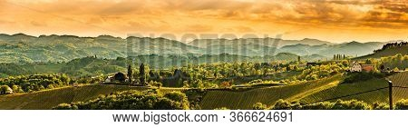 Panoramic View At Famous Wine Street In South Styria, Austrian Destination, Tuscany Like Vineyard Hi
