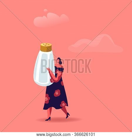 Cute Woman Holding Huge Salt Shaker Isolated On Pink Background. Cooking And Concept. Female Charact