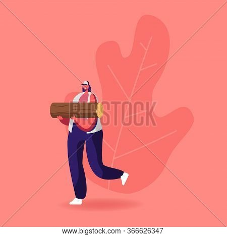 Young Woman Carry Wood For Chopping And Brewing Moonshine. Female Character With Log, Girl Holding T