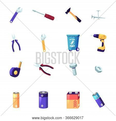 Set Handyman Tools Or Instruments Wrench, Screwdriver And Hammer, Nail, Screw And Nut. Drill, Measur