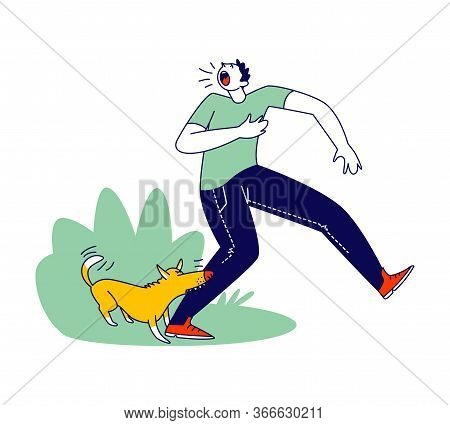 Aggressive Dog Biting Man Leg. Male Character Attacked With Angry Animal On Street Crying And Feel P