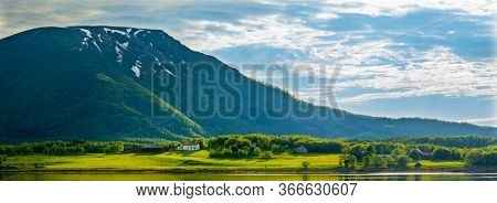 Lofoten Islands, Norway, View on Mountain and Fjord, Beautiful Nature Of Norway