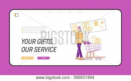 Seasonal Sale Landing Page Template. Cheerful Shopaholic Pushing Trolley With Purchases And Gift Box