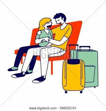 Young Couple Hugging On Bench With Luggage Bags Stand Nearby In Airport Waiting Area, Flight Delay,