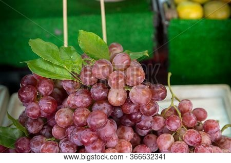 Close Up Red Grape On The Shelf In Fresh Market. Healthy Fruits For Anti Oxidant. Image For Backgrou