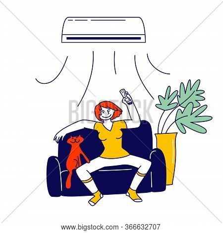 Young Woman Suffering Of Seasonal Heat Use Conditioner At Home. Girl Character With Smiling Face Fee