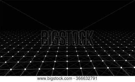 Abstract Wireframe Perspective Grid, Connection Of White Dots And Lines On Dark Background. Vector I