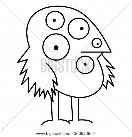 A Strange Bird With Many Eyes Is Drawn In The Style Of A Thin Black Line. The Bird Looks With Big Ro