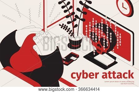 Cyber Threat Weapon Virus Isometric Background With View Of Workplace Infected Desktop Computer And
