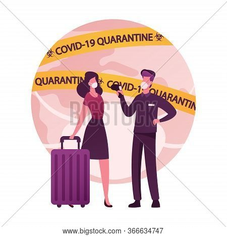 Female Character With Luggage Going Abroad, Man Airport Worker Measuring Temperature With Distant Th